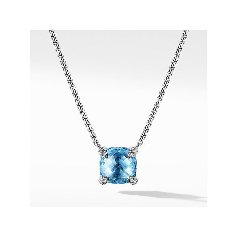 David Yurman Chatelaine Pendant Necklace with Blue Topaz and Diamonds