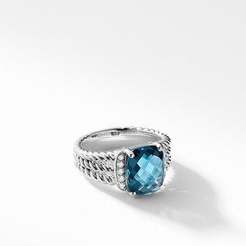 Petite Wheaton Ring with Hampton Blue Topaz and Diamonds