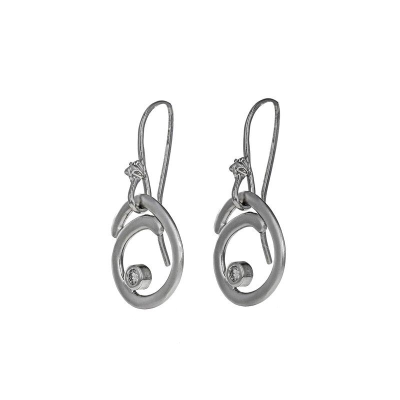 Estate Radcliffe Diamond Swirl Drop Earrings