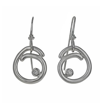 Diamond Swirl Drop Earrings