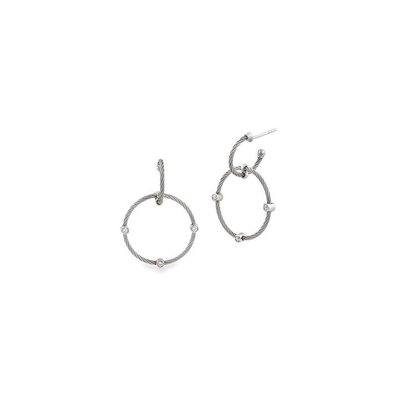 ALOR Grey Cable Double Hoop Drop Earrings
