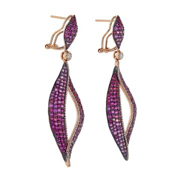 Pink Sapphire & Diamond Drop Leaf Earrings