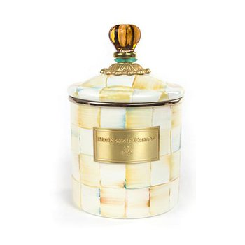 Parchment Check Enamel Canister, Small