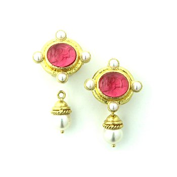 "Pink ""Cabochon Quadriga"" and Pearl Earrings"