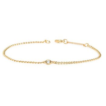 Floating Diamond & Curb Chain Bracelet