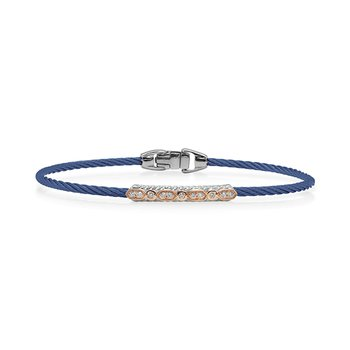 Blue Cable Bracelet with Diamond Station