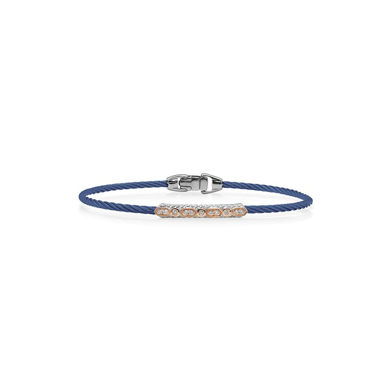 ALOR Blue Cable Bracelet with Diamond Station