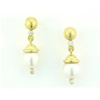 White Pearl  & Diamond Earrings