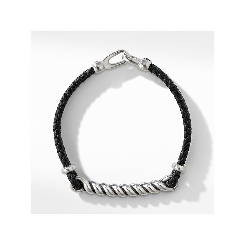 David Yurman Cable ID Black Leather Bracelet