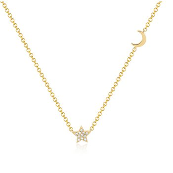 Baby Diamond Star and Gold Moon Necklace