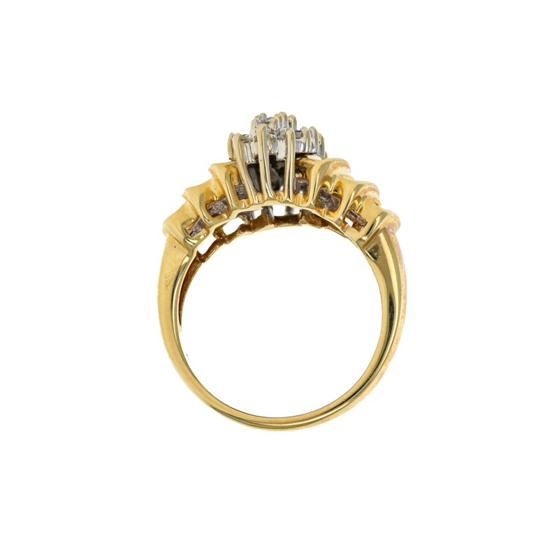 Estate Radcliffe Round & Baguette Diamond Cluster Ring