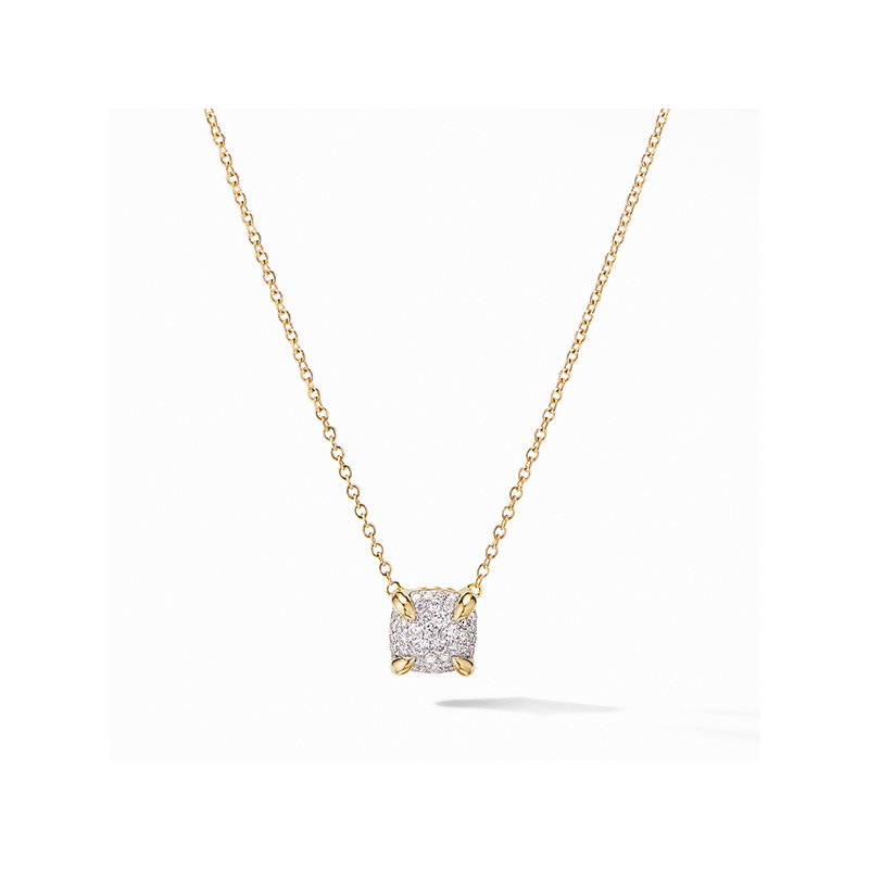 David Yurman Chatelaine Pendant Necklace in 18K Yellow Gold with Full Pave Diamonds