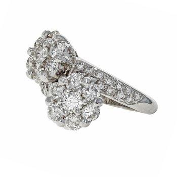 Double Flower Diamond Bypass Ring