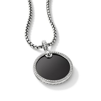 DY Elements Disc Pendant with Black Onyx and Pave Diamond Rim