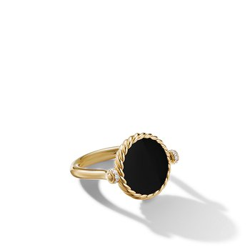 DY Elements Reversible Swivel Ring in 18K Yellow Gold with Black Onyx and Mother of Pearl and Pave Diamonds