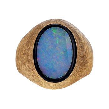Opal & Onyx Inlay Signet Ring