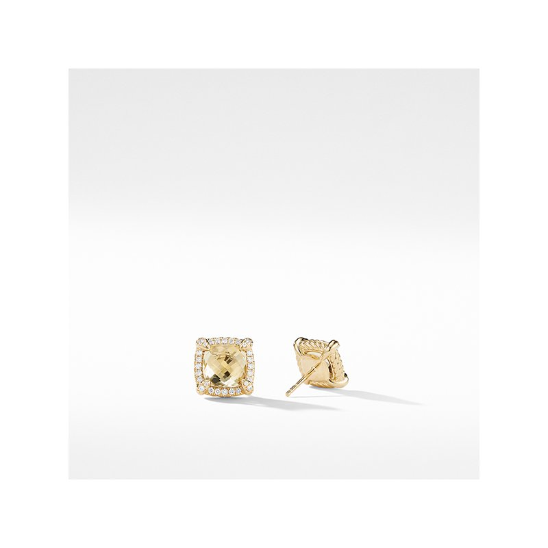David Yurman Chatelaine Pave Bezel Stud Earring with Champagne Citrine and Diamonds in 18K Gold, 8mm