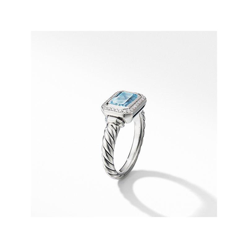David Yurman Novella Ring with Blue Topaz and Pave Diamonds