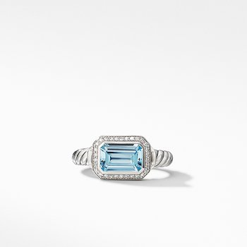 Novella Ring with Blue Topaz and Pave Diamonds
