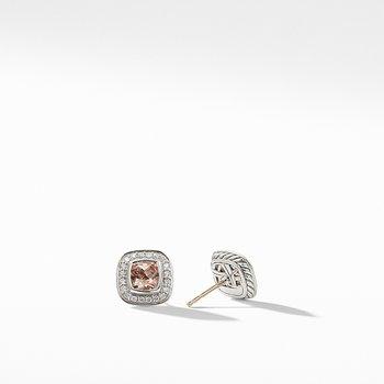 Petite Albion Earrings with Morganite and Diamonds