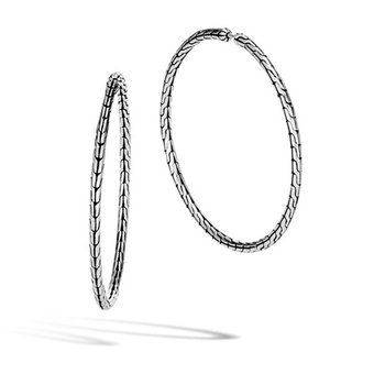 Classic Chain Silver Large Hoop Earrings