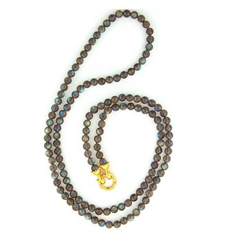 Labradorite Bead Necklace with Granulated Clasp