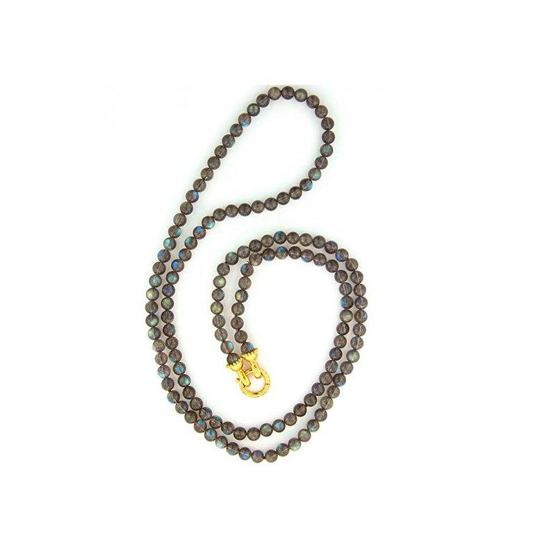 Elizabeth Locke Labradorite Bead Necklace with Granulated Clasp
