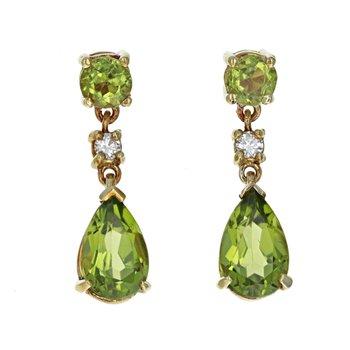 Peridot & Diamond Drop Earrings