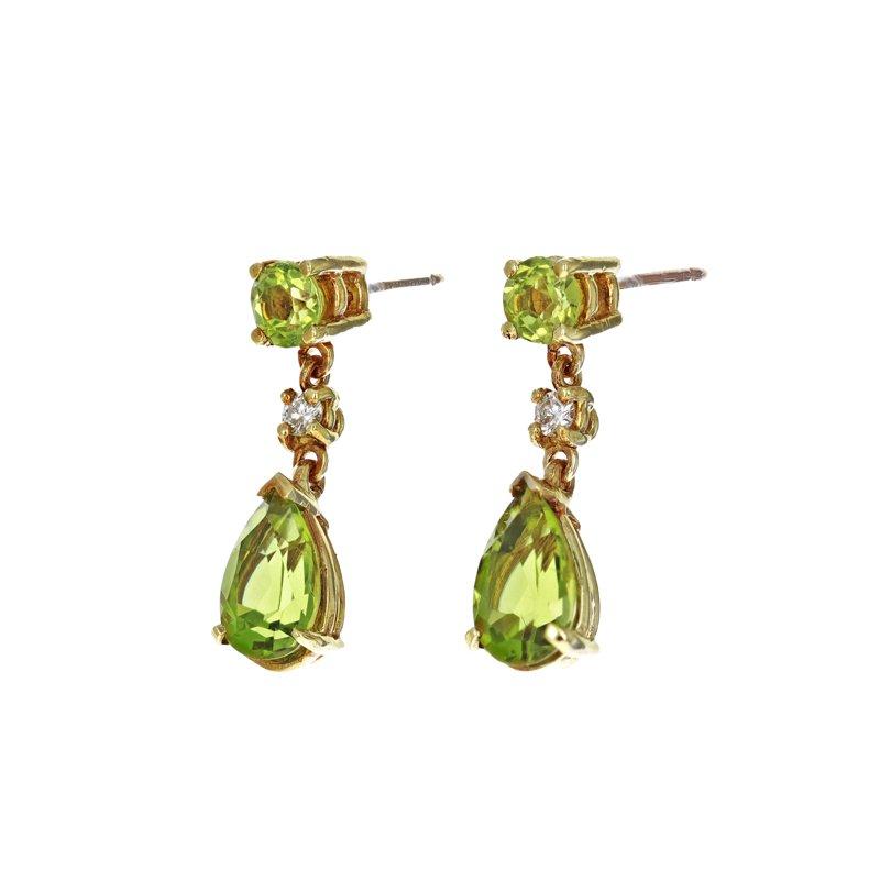 Estate Radcliffe Peridot & Diamond Drop Earrings