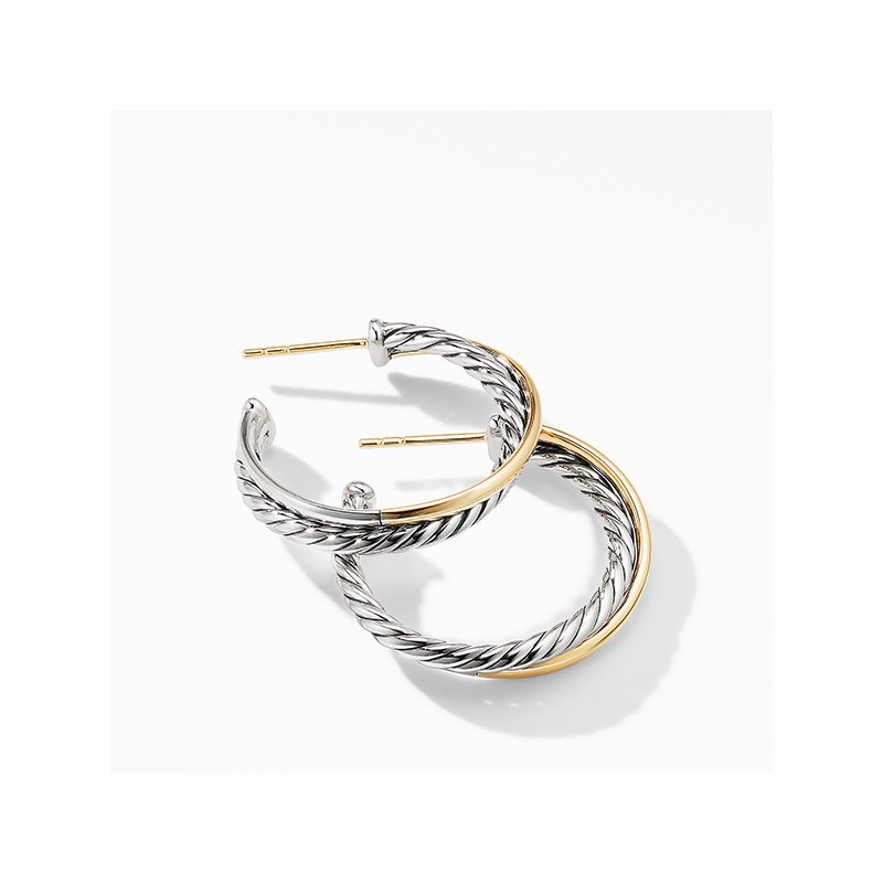 David Yurman Crossover Medium Hoop Earrings with 18K Yellow Gold