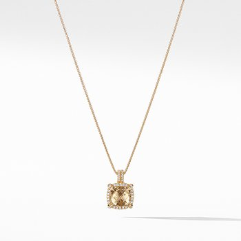 Chatelaine Pave Bezel Pendant Necklace with Champagne Citrine and Diamonds in 18K Gold, 9mm