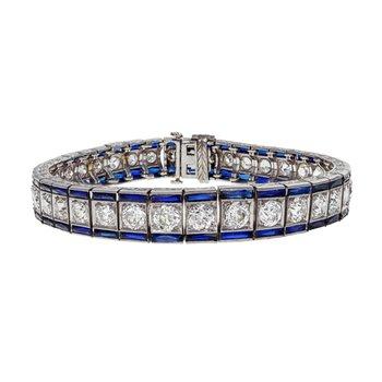 Diamond & Sapphire Line Bracelet