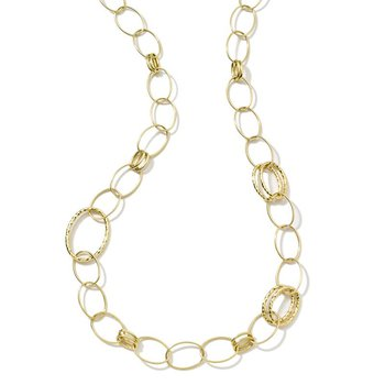 Classico Long Hammered Bastille Link Necklace