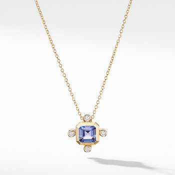 Novella Pendant Necklace in 18K Yellow Gold Tanzanite with Diamonds
