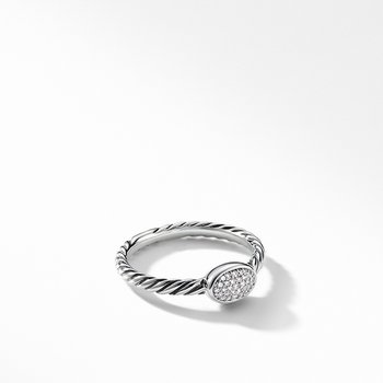 Petite Pave Oval Ring with Diamonds