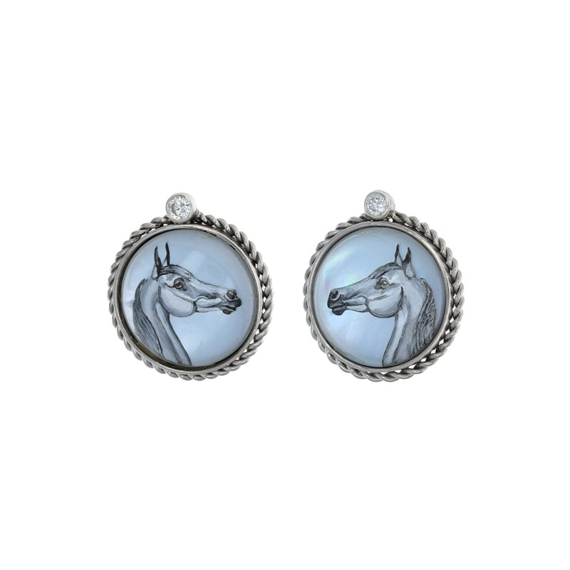 Estate Radcliffe Diamond Painted Horse Earrings