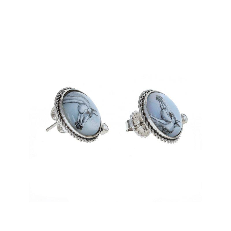 Estate Radcliffe Diamond Painted Horse Earrings