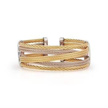 Yellow & Carnation Cable Petite Interlaced Bracelet
