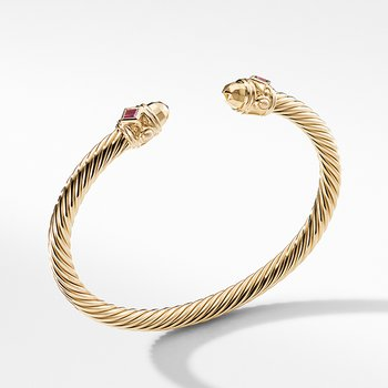 Renaissance Bracelet in 18K Gold with Gold Dome and Rubies