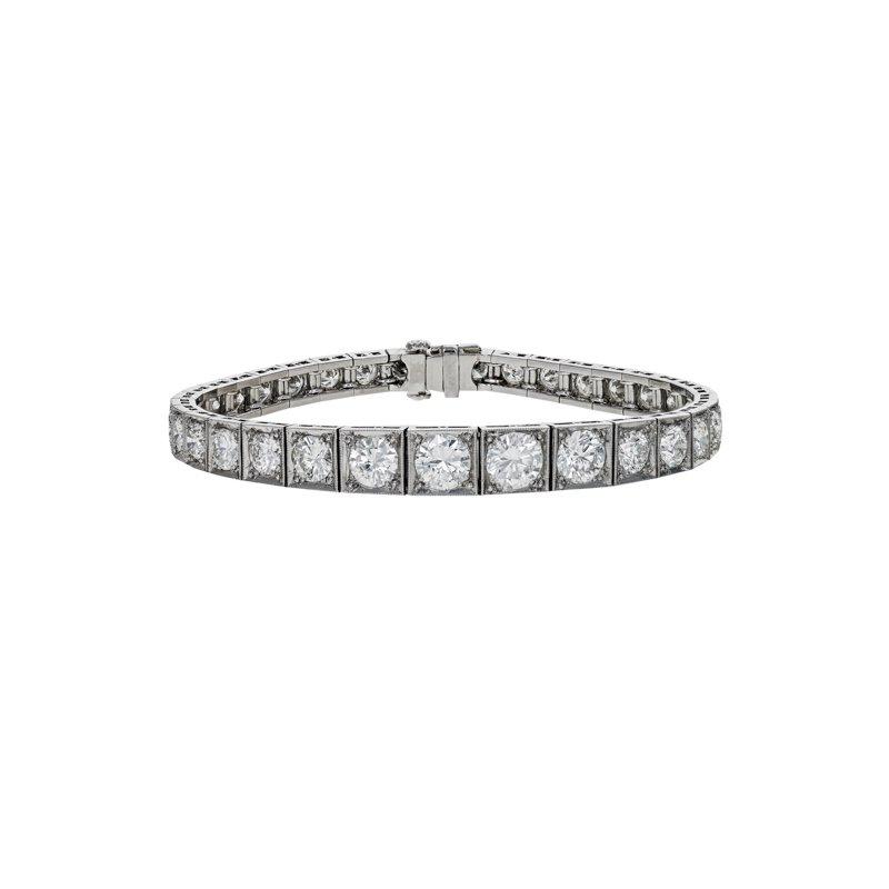 Estate Radcliffe Art Deco Diamond Block Bracelet