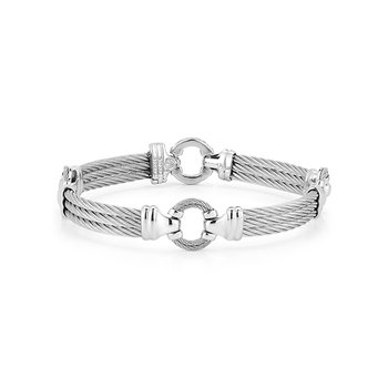 Grey Cable Bracelet with Cable Center Ring