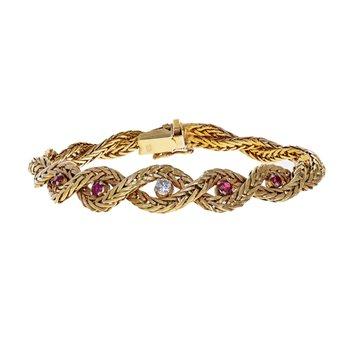 Diamond & Ruby Braided Bracelet