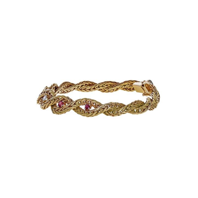 Estate Radcliffe Diamond & Ruby Braided Bracelet