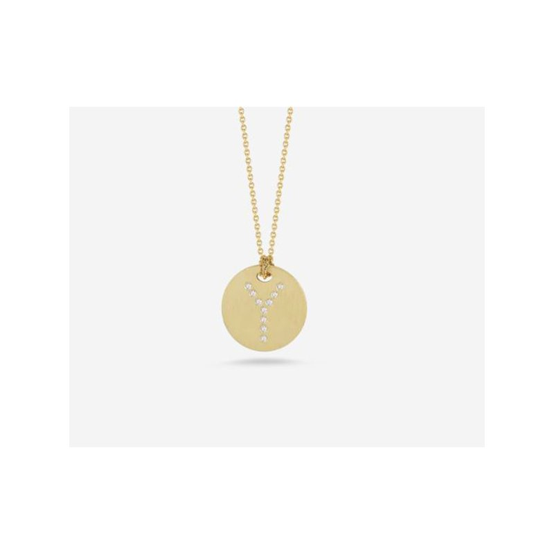"""Roberto Coin Disc Pendant with Diamond Initial """"Y"""""""
