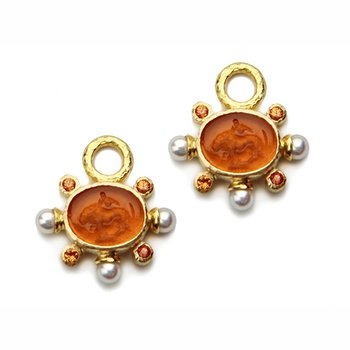 """Amber """"Tiny Lion"""" Earring Charms"""