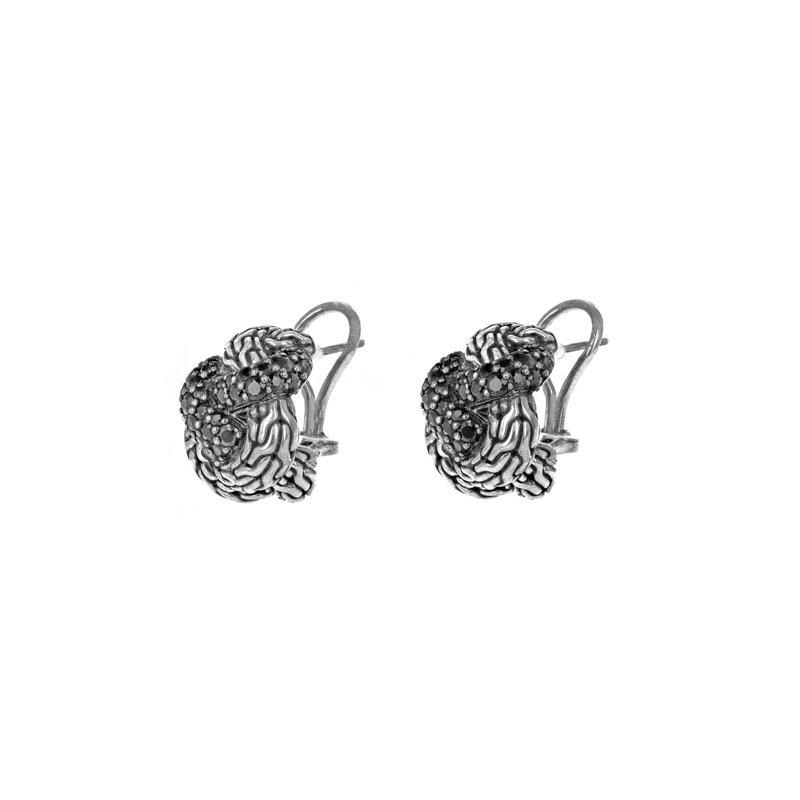 Estate John Hardy Black Sapphire Braided Earrings
