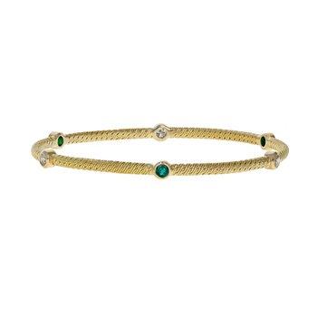 Diamond & Emerald Woven Bracelet