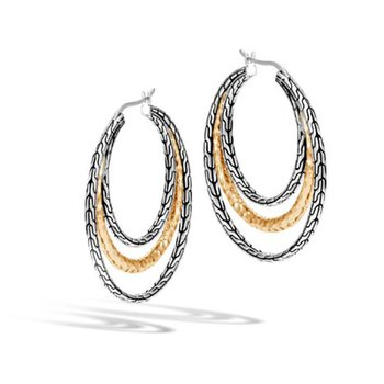 Classic Chain Hammered Medium Hoop Earrings