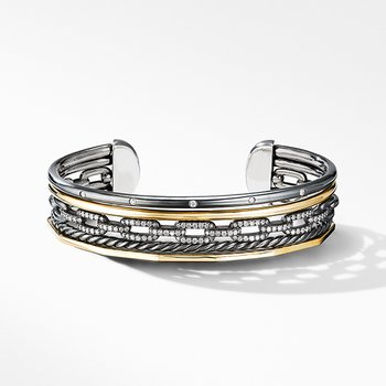 Stax Five-Row Cuff Bracelet in Blackened Silver with Diamonds
