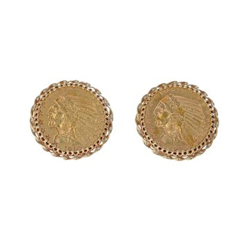 Indian Gold Coin Cufflinks